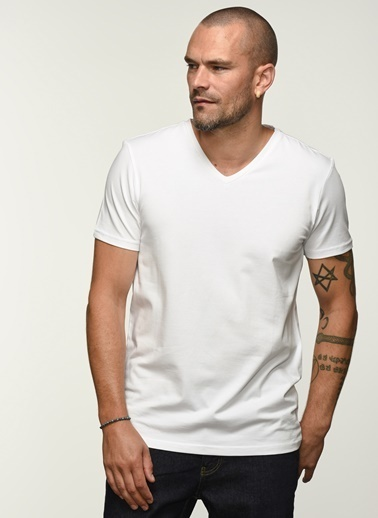 People By Fabrika Pfess21Ts0004 V Yaka Tişört Beyaz